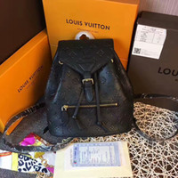 zig zag baskı sırt çantaları toptan satış-2019 M43431 MONTSOURIS SIYAH Çiçekler baskı Kabartmalı GERI Sırt Çantası ÇANTA Sırt Çantaları Bagaj Omuz Çantaları EL ÇANTALARI Kemer Çantası