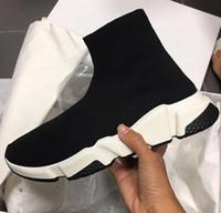 zapatos del diseñador de la nave de la gota al por mayor-Nueva venta al por mayor Hombre Mujer Entrenador de velocidad Zapatos casuales de alta calidad Stretch-Knit High Top Fashion Designer Shoes Drop Ship Tamaño 35-46