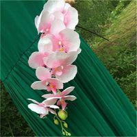 weiße blaue mittelstücke großhandel-Festliche 10 Stück künstliche Phalaenopsis Schmetterling Orchideen weiß / grün / pink / pink / rot / blau Blume Hochzeit Mittelstücke Blume