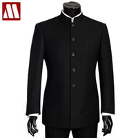Wholesale Mandarin Suits - MYDBSH Brand Men Suits Big size Chinese Mandarin Collar Male Suit Slim Fit Blazer Wedding Terno Tuxedo 2 Pieces Jacket & Pant