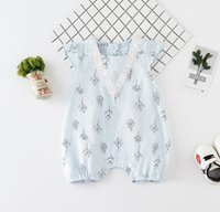 Wholesale little trees wholesale - 2018 INS hot styles New spummer baby kids little tree print romper infant kids 100% cotton Short sleeve summer romper 0-2T free shipping