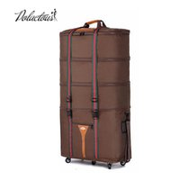 Wholesale Large capacity Oxford cloth Consignment by Air travel bag folding suitcase Super great checkbox baggage brown and black suitcase