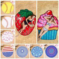 Wholesale round polyester scarf for sale - Fruit Flamingo Beach Towel Hamburger Ice Cream Softball Shower Towel Bath Sunscreen Printing Shawl Scarf LJJO4381