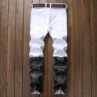 mens club jeans venda por atacado-High Street Idopy Estilo Punk Preto E Branco Casual Mens Hip Hop Motociclista Jeans Night Club Slim Fit Impresso Com Zíperes Calças Corredores