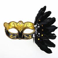 embalagens de penas venda por atacado-Nova pena metade máscara facial masquerade Natal Halloween pena pintado máscara máscara de festa de aniversário venda