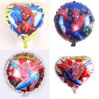 ingrosso palloncini di cuore di compleanno-Pallone a forma di stagnola felice di 18 pollici di forma di cuore dello Spiderman per il pallone all'ingrosso della stagnola del fumetto della decorazione della festa di compleanno di nozze all'ingrosso