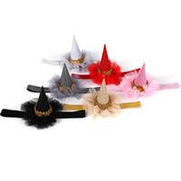 ingrosso cappelli da pizzo nuziale-Principessa Crown Hat per bambini Hairband con pizzo elastico Shiny Wedding Party Birthday Cap HairBand Regali nuziali