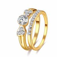 nuevo amor romántico anillos al por mayor-Toda la ventaCACANA NUEVO Classic Crystal Ring Zinc Alloy Shinning Crystal Couple Ring set Forever Love For Romantic Wedding
