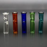 cigarette mini tube achat en gros de-Mini filtres en verre avec une bouche ronde et plate pour support d'herbe sèche Porte-cigarettes en tube de verre Pyrex Filtre Tuyaux pour fumer