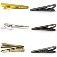 krawatte krawatte großhandel-Man Krawattenklammern Krawattennadeln Silber Gold Schwarz Krawattenklammer Metallklammern Taschenklammern für Männer Weihnachtsgeschenke vorhanden