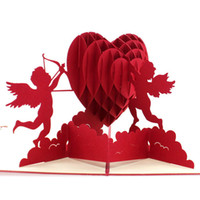 Wholesale Kirigami 3d Wedding - Wholesale- 2016 Wedding Supply 3D Pop Up Cupid Love Heart Handmade Greeting Card Kirigami
