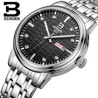 роскошные ультратонкие часы оптовых-Швейцария мужские часы люксовый бренд наручные часы BINGER ультратонкие кварцевые часы из нержавеющей стали glowwatch B3036-4
