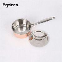 нержавеющая сталь с медным покрытием оптовых-Agniers из нержавеющей стали высокого качества 3шт набор посуды из пяти -слойная медная многослойная сталь кастрюля 16см +20см сковорода
