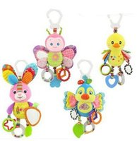 Wholesale Car Duck - Cute butterfly rabbit duck bird baby kids stroller bed car around hanging bell rattle activity soft toys outer baby plush toy