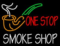 "Wholesale disco smoke - Smoke Shop ONE STOP Neon Sign Custom Cigars Pipes Handmade Real Glass Tubes Store Cigarettes Room Display Advertisement Neon Signs 24""X20"""