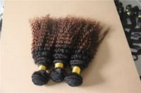 cabelo curvado brasileiro não processado 6a venda por atacado-T Preto / Marrom Escuro Dois tipos de cor Brasileiro Kinky Curly Hair Tecelagem 100% Cabelo Humano Weave 6a Não Transformados Dupla Trama Do Cabelo Extensão