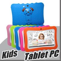 ingrosso quad speakers-2018 Kids Tablet Tablet PC 7 pollici Quad Core per bambini Android 4.4 Allwinner A33 lettore google wifi grande copertura protettiva per altoparlante L-7PB