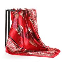 Wholesale china shawls wholesale - Red Hijab Shawl Scarf Women Satin Fashion China Vintage Totem Printed Female Square Scarves Head Wraps 2018 NEW 90x90cm