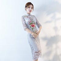 uzun cheongsam gece elbisesi toptan satış-Gri Moda Dantel Cheongsam Düğün Uzun Qipao Modern Çin Elbise Vestido Oryantal Abiye Chino Tradicional Qi Pao