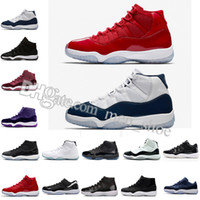 "Wholesale Red Mid - Number ""45"" 11 Spaces Jams Basketball Shoes for Men Women Gym Red 11s Sport Sneakers Midnight Navy size 5.5-13"
