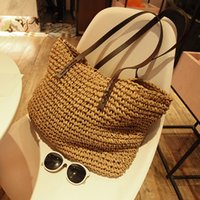 дизайнер соломенной сумочки оптовых-2018 Beach Bag for Summer Big Straw Bags Handmade Woven Tote Women Travel Handbags  Designer Shopping Hand Bags