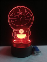 Wholesale nightlights for babies online - New cartoon Doraemon colorful D led night light Colors auto Changing D creative table lamp nightlight for children baby kids