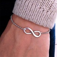Wholesale China Traditional Girl - AFSHOR Fashion Pulseras Bijoux 2017 New Women 8 Infinity Bracelet For Men Jewelry Girl Gift Charm Bracelets Bangles pulseiras