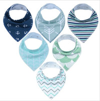 free baby packs NZ - INS cotton baby bibs 6pack newborn infant boy and girls customized burp cloths with buttons 6pcs pack