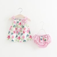 Wholesale girls korean striped dress - kids sets 2 color Korean Style 2018 new arrival girl 2 pieces sets summer Little flowers print Dress high quality cotton +striped shorts