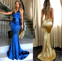 Wholesale Elastic Back Bridesmaid Dress - Simple Sexy V Neck Gold Mermaid Prom Dresses Backless Spaghetti Strap Custom Made Long Evening Dresses Long Bridesmaid Dresses Formal Wear