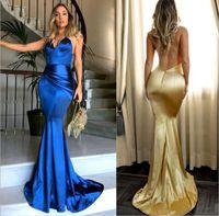 vestidos sem costas venda por atacado-Simples Sexy V Neck Ouro Sereia Vestidos de Baile Backless Spaghetti Strap Custom Made Longos Vestidos de Noite Longos Vestidos de Dama de Honra Formal