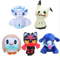 Wholesale 5 Style Pikachu Anime Comics Alola Vulpix Mimikyu Litten Rowlet Popplio Plush Doll Stuffed Toy For Child Best Gifts cm MF002
