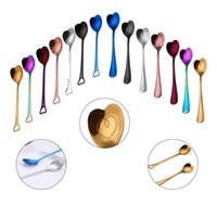 Wholesale wholesale drinking gadgets - Love Heart-Shaped Spoon Stainless Steel Handle Spoon Cutlery Coffee Drink Tool Kitchen Gadget 14styles Spoon GGA301 50PCS