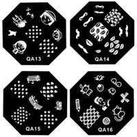 цветочный узор ногтей оптовых-DIY Octagon Round Nail Manicure Flower Butterfly Bird Animal  Pattern Nail Art Stamping Plates Templates Stamp Plate