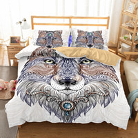 Wholesale Wolf Print Bedding Sets Queen - Art Wolf Pattern Oil Painting Printed Polyester Bedding Sets Twin,Full,Queen,king Duvet Cover No Filler
