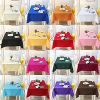 ingrosso panno nero da tavola-Panno in fibra di poliestere Tavolo da riunione in metallo nero Mostra hotel Ristorante Rettangolo Tavolo da pranzo in lino Decorazioni per matrimoni Pure Color 18ll3 bb