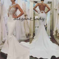Wholesale sexy wedding dresses fitted sheer resale online - Sexy White Mermaid Lace Wedding Dresses Backless Sheer Neck Appliques Fitted Top Wedding Bridal Gowns Sweep Train Custom Made robe de mariée