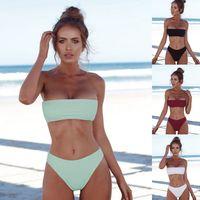ingrosso banda superiore bikini-Womens 2 pezzi bikini set costume da bagno push-up a fascia top costumi da bagno imbottito petto avvolgere costumi da bagno costumi da bagno LJJO4137