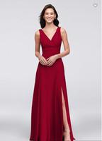 vestido de boda de tafetán rosa sirena al por mayor-Envío gratis 2018 recién llegado de 4XLF19831 vestido de dama de honor de la gasa de la gasa del vestido largo de la dama de honor por encargo