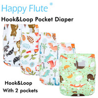 Wholesale happy baby cloth diapers for sale - Group buy Happy Flute Hook Loop OS Pocket Cloth Diaper with two pockets waterproof and breathable for kg baby