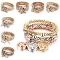 ensemble de bracelet en diamant achat en gros de-3pcs / set Cristal élastique Bracelet Diamant Coeur Coeur Couronne Arbre de Vie Crâne Papillon Charme Bracelet Bracelet Manchette Ensembles Bijoux Drop Ship 320179