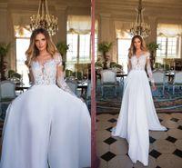Wholesale Design Beach Wedding Dress - 2018 New Design Bohemian Wedding Dresses Summer Sheer Neck Long Illusion Sleeves High Side Split Sexy Wedding Bridal Gowns Boho