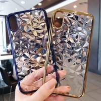 Wholesale iphone 6s crystal metal online - Metal Electroplating Crystal TPU Clear Case Soft Protector Cover For X Xr Xs Max S Plus Samsung S8 S9 Plus Note