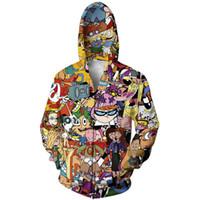 sudaderas gráficas 3d al por mayor-Anime Hoodies y sudadera de los hombres de la nueva moda de impresión 3D de dibujos animados Zipper Hoody Hip Hop con capucha Streetwear Ocio Unisex Graphic Tops