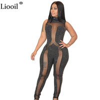 Wholesale Womens Sexy See Through Jumpsuits - Liooil Crystal Diamond Sheer Mesh Rompers Womens Jumpsuit Sleeveless Bodycon See Through Black jumpsuit Sexy Outfits For Woman