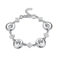 pulsera de enlace de la libra esterlina al por mayor-Top venta! Un círculo conectado con una cadena de mano pulsera de plata esterlina SPB484; niñas de moda 925 de plata Enlace, pulsera de cadena