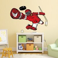 спортивные украшения для мальчиков оптовых-Hockey Player Wall Art Sticker 3d Sports Poster Boys Bedroom Hockey Wall Decal For Kids Room Home Decoration