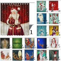 Wholesale santa curtain - 165 cm Christmas Shower Curtain Santa Claus Snowman Waterproof D Printed Bathroom Shower Curtain Decoration With Hooks Free DHL WX9