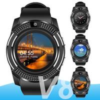 relojes automáticos al por mayor-Para apple V8 smart watch muñeca reloj bluetooth reloj con ranura para tarjeta SIM controlador de la cámara para iPhone Android Samsung hombres mujeres PK DZ09