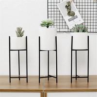 Wholesale minimalist frame resale online - Ins Vogue Pot Flower Vase Minimalist Ceramic Water Pot Green Planter Set Metal Candle Holder Iron Frame Shelf
